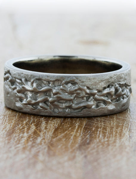 Black metal nature inspired wedding band