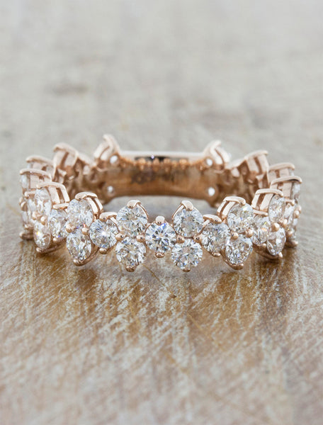 caption:Shown in rose gold; 3/4 way diamond coverage option