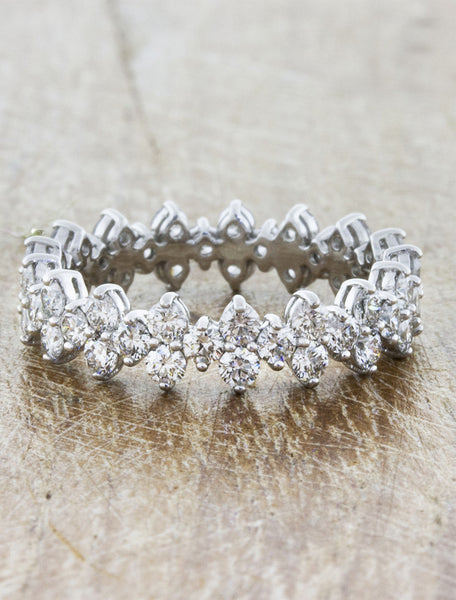 intricate floral diamond eternity band