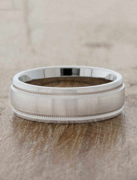 comfort fit mens wedding band with subtle details