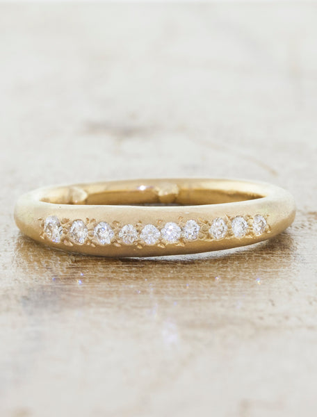 Rustic Diamond Textured Wedding Band