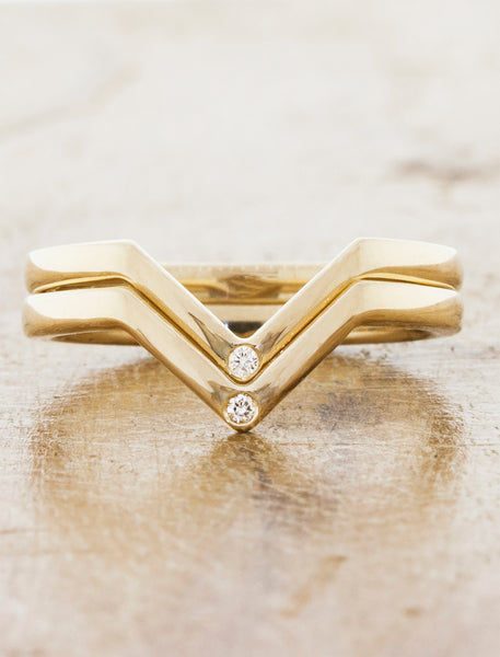 Puzzle piece fit wedding band;caption:Marie Wedding Bands Pictured in 14k Yellow Gold with Diamonds