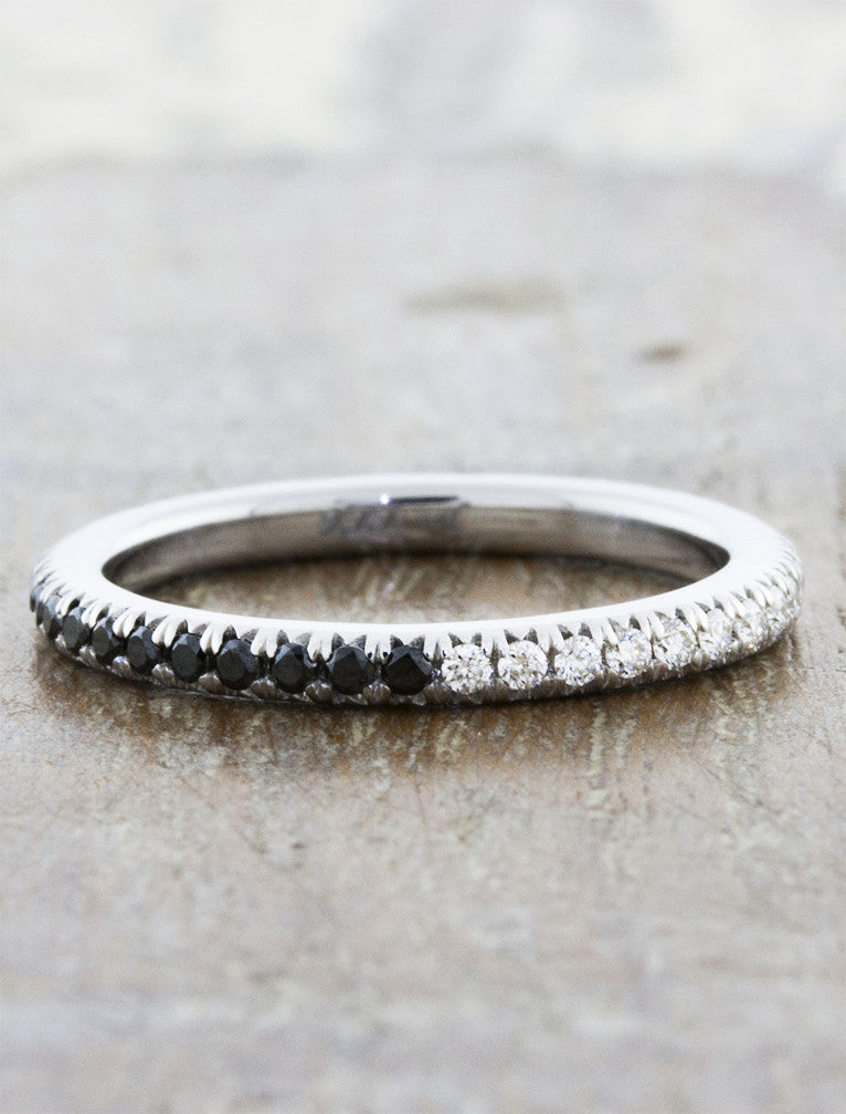 unique black and white diamond wedding band