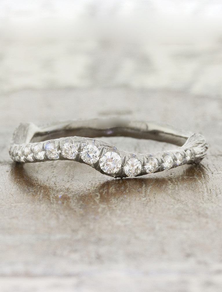 wave and bar texture wedding band with diamonds