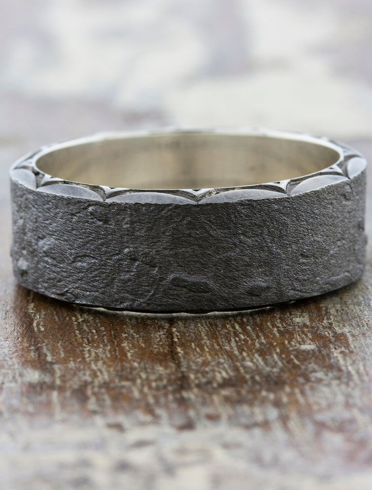 Textured Black Wedding Band