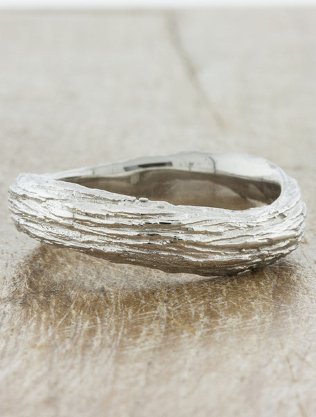 Nature Inspired Bark Textured wedding bands