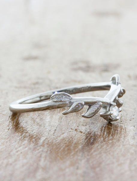 Nature Inspired Wedding Ring with Leaf Details