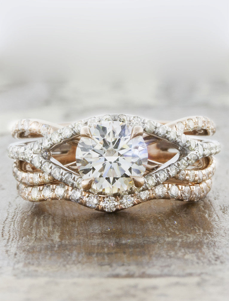 paired wavy wedding ring with diamonds - engagement ring