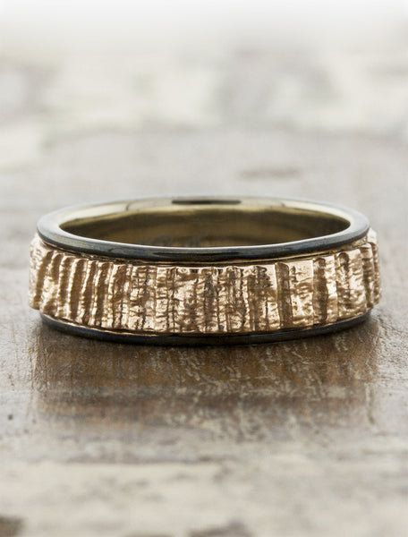 rough texture mixed metal banded wedding ring - dark metal