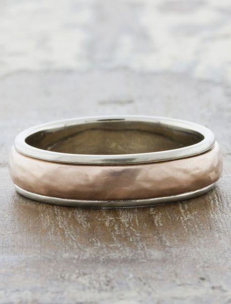 lightly hammered mixed metal wedding band - rose gold