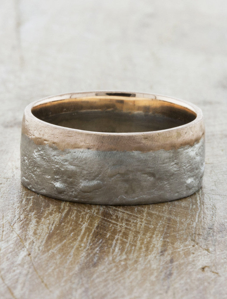 men's 8mm textured mixed metal wedding band