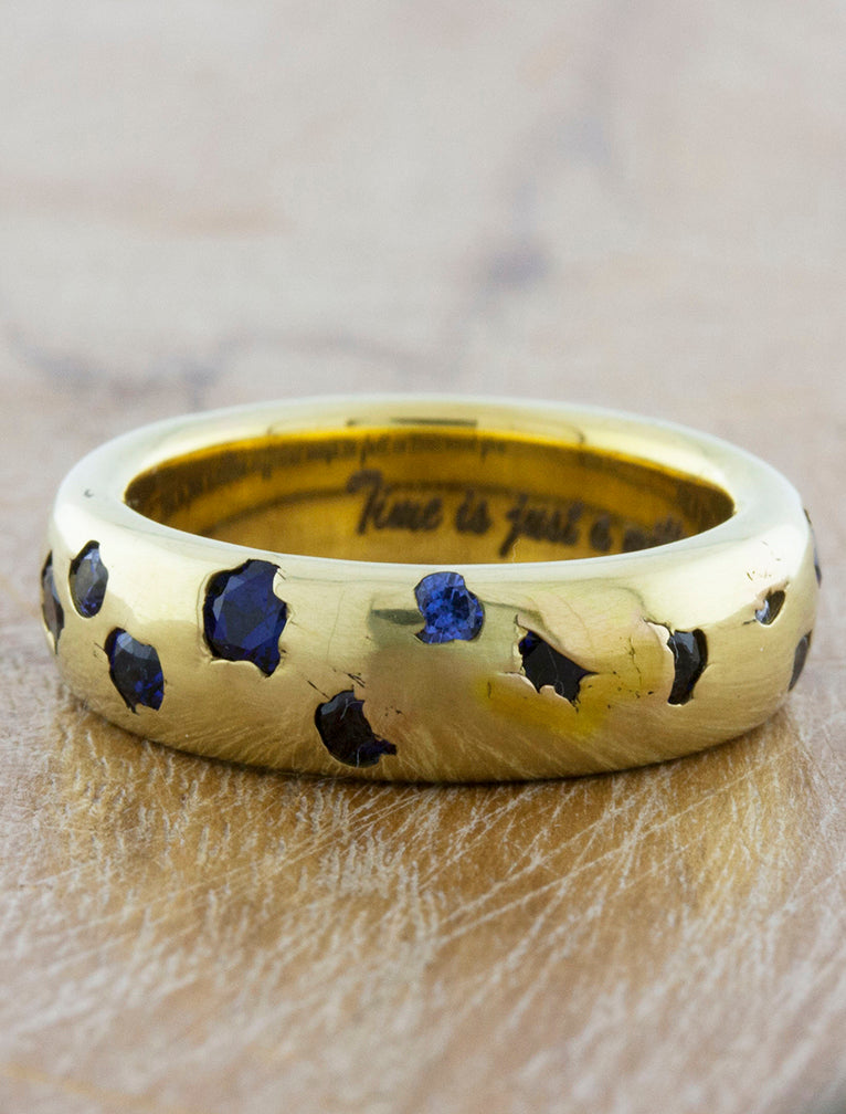nature inspired sapphire wedding band