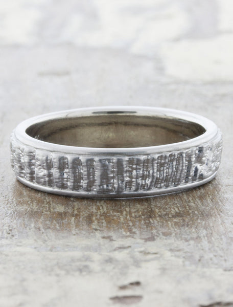 rough texture banded wedding ring