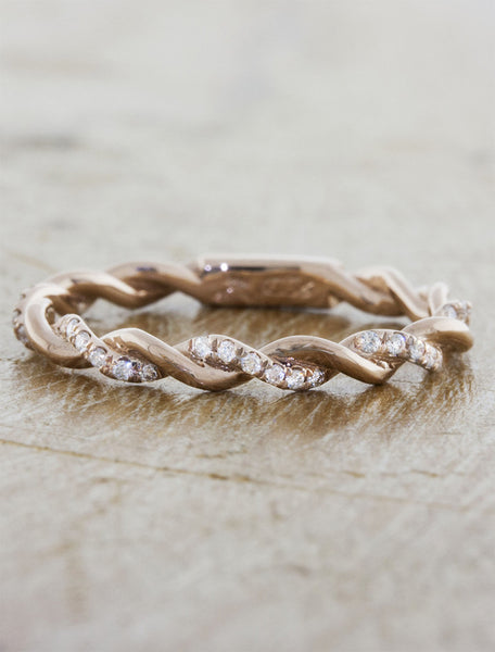 twisted rope wedding band - rose gold with diamonds