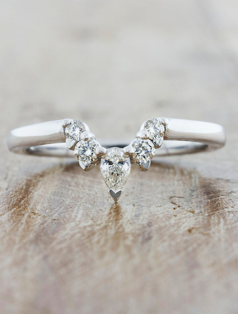 Curved Wedding Band With Oval Engagement Ring