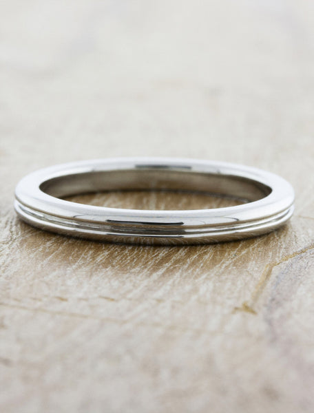 men's 3mm thin double band wedding ring