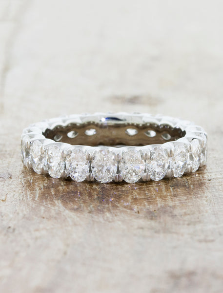 Oval diamond eternity wedding ring