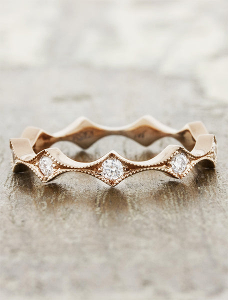 unique scalloped rose gold & diamond wedding band
