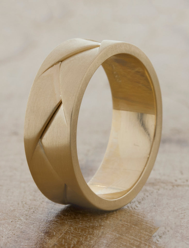 modern and comfortable wedding band caption:14k yellow gold 7mm