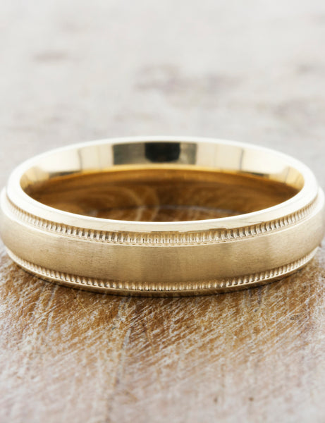 comfort fit mens wedding band with subtle details - yellow gold