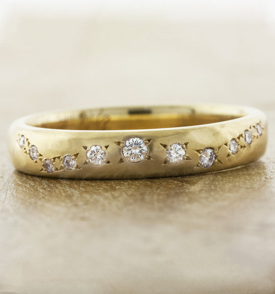 custom fingerprint wedding band set - women's ring. caption:Custom Lili with hand-hammered texture.  Satin brush finish.