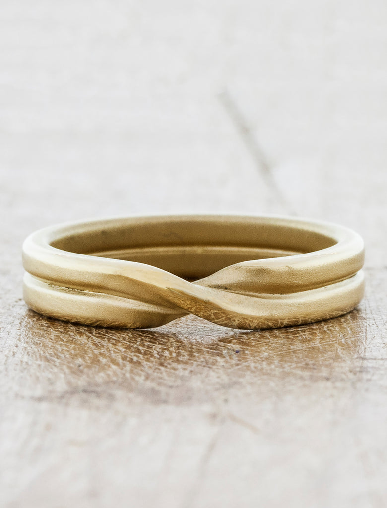 Mobius Strip Double Rope Wedding Band caption: 14k Yellow Gold 4mm