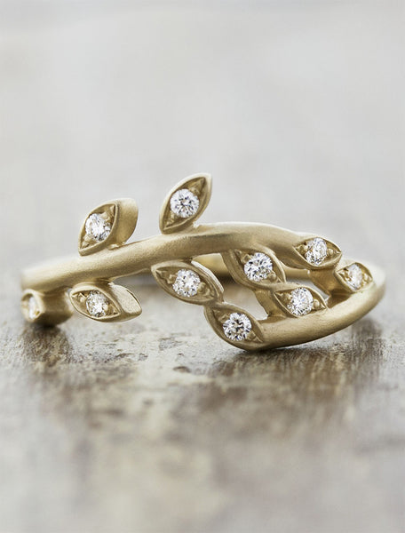sculptural floral, diamond wedding band - yellow gold variation