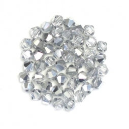 Bicone Beads 3mm Half Plated Silver