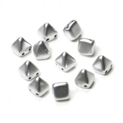 Pyramid Beads 6x6mm Aluminium Silver