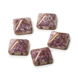 Pyramid Beads 12x12mm Alabaster Teracota Purple