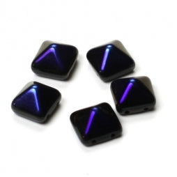 Pyramid Beads 12x12mm Jet Azuro