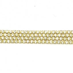 Strass Ketting SS6/2mm Goud - Crystal