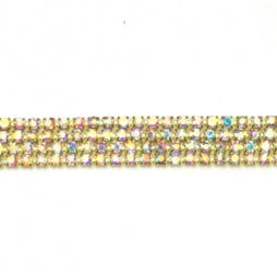 Strass Ketting SS6/2mm Goud - Crystal AB