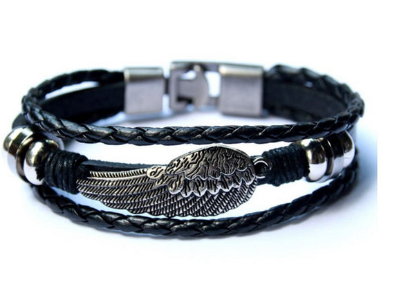 Mens Bracelet Retro Cuff Rope Black Steel Wing with Anchor Clasp