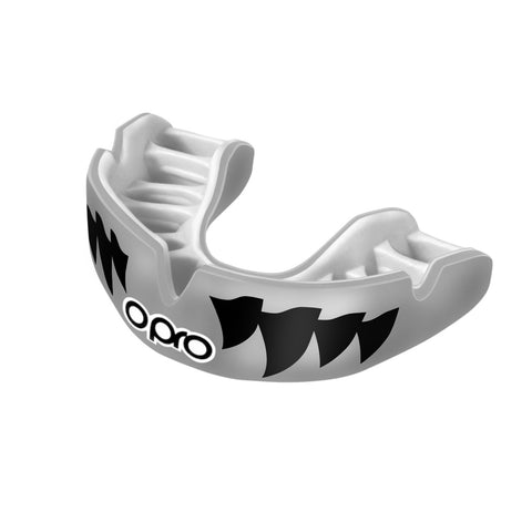Opro Power Fit Aggression Jaws Mouthguard Silver / White