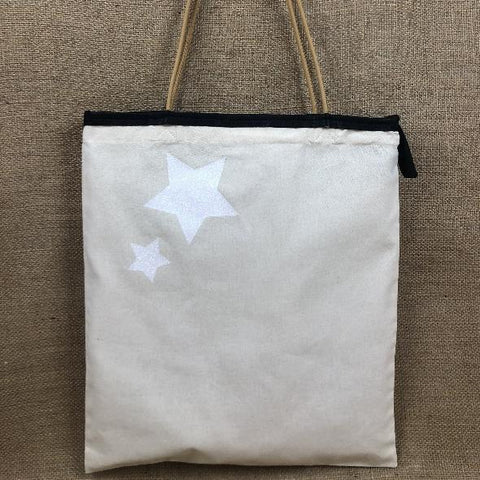 TOTE BAG Toile § Cuir / sable § naturel SLIM