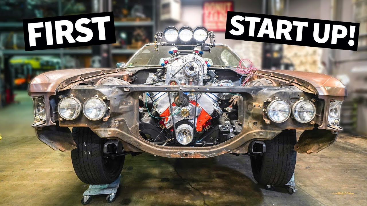 FIRST Start For Our Donk's New Supercharged Big Block! And We Put the Body Back on