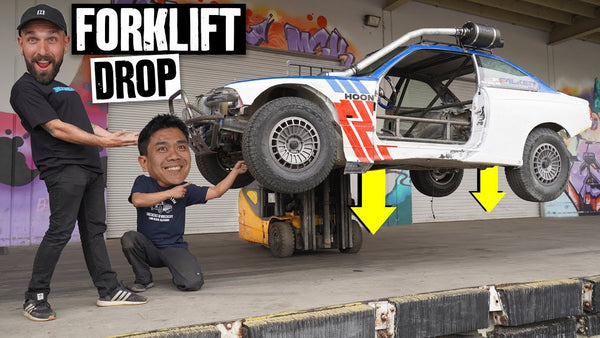 Forklift Drop Suspension Test + Sledgehammer Clearance on our E36 Safari Project Car Part 8/10