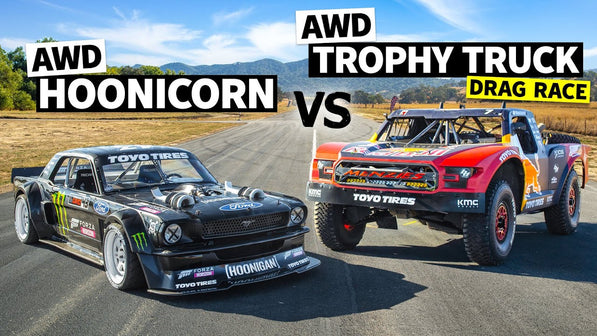 AWD Trophy Truck Pulls a Wheelie Vs Ken Block's 1,400hp AWD Ford Mustang // Hoonicorn Vs the World