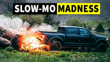 Raptor Slides Thru Campfire, Fire-Axe Throwing, etc. - Slow Motion Ranch Madness!