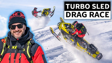 Ken Block Drag Races His NEW Turbo'd Ski-Doo Snowmobile Against Pro Tony Jenkins in Idaho Mountains