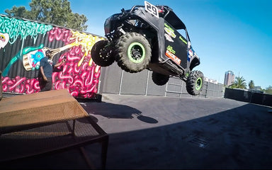 9 Year old Shredder Jumps the Double Stack! AND Hoons our Yard in his UTV