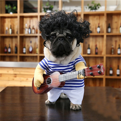 Funny Guitar Player Cosplay Dog Costume for Small Dog Large Dog Retriever Halloween Party Supplies 35