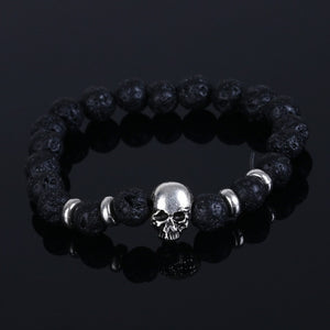 Fashion Jewelry natural stones skull bracelet for women Lava stone beads and tiger eye stone beads bracelet men pulseiras
