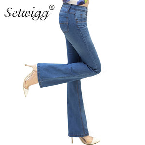 SETWIGG Womens Ligth Blue Slim Flare Jeans Low Waisted Stretch Denim Female Bell Skinny Pants & Long Jean Trousers