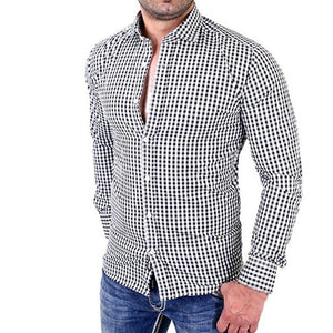 New Stylish Men's Casual Lapel Plaid Shirt