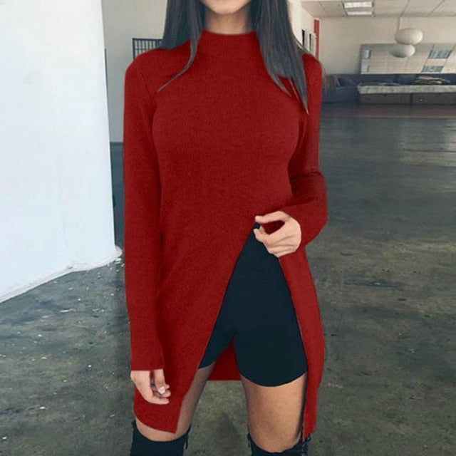 High Split Casual Long Sleeve Top Knitted Pullovers