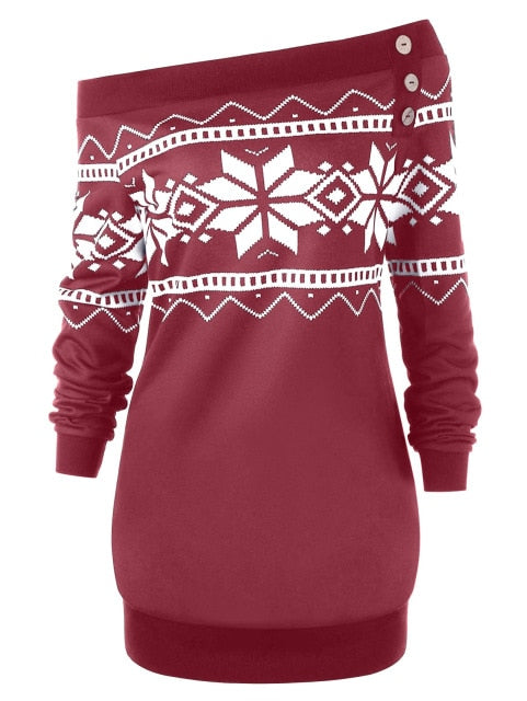 Skew Neck Snowflake Geometric Pullover Female Tops