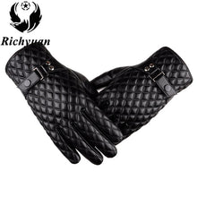 Winter Men's  Leather Gloves 2017 New Brand Touch Screen Gloves Fashion Warm Black Gloves  Mittens