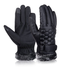 Vbiger Men Winter Warm Gloves Retro Thickened PU Leather Touchscreen Gloves Plush Cuff Outdoors Anti-skid Gloves for Men